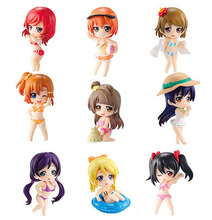 Kawaii 6.5cm 9pcs/set Anime Love Live! School Idol Project Swimsuit Q Version PVC Action Figures Collectible Model Toys Gifts