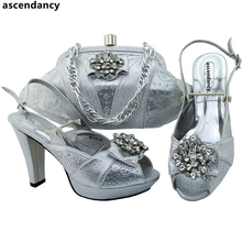 Sliver Color African Shoes and Matching Bag Italian Bag and Shoe Set Italy African Wedding Shoe and Bag Set Decorated with Stone