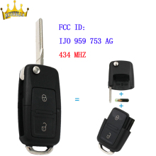 2 Button Remote Control Key With Blank Blade +ID48 Chip 1J0 959 753 AG For VW -VOLKSWAGEN Skoda Seat 434 MHz