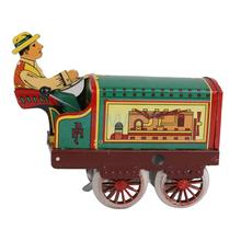 Iron Sheet Tin Clockwork Mechanical Toy Tractor with Driver and Key