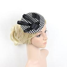 Flower Grid Ribbon Mini Top Hat Corsage Hair Clip Wedding Party Black