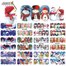 1 Sheet Christmas Beauty Full Wraps Nail Art Water Transfer Stickers Charm Nail Tips Decals Manicure Decor Tools LAA1141-1152