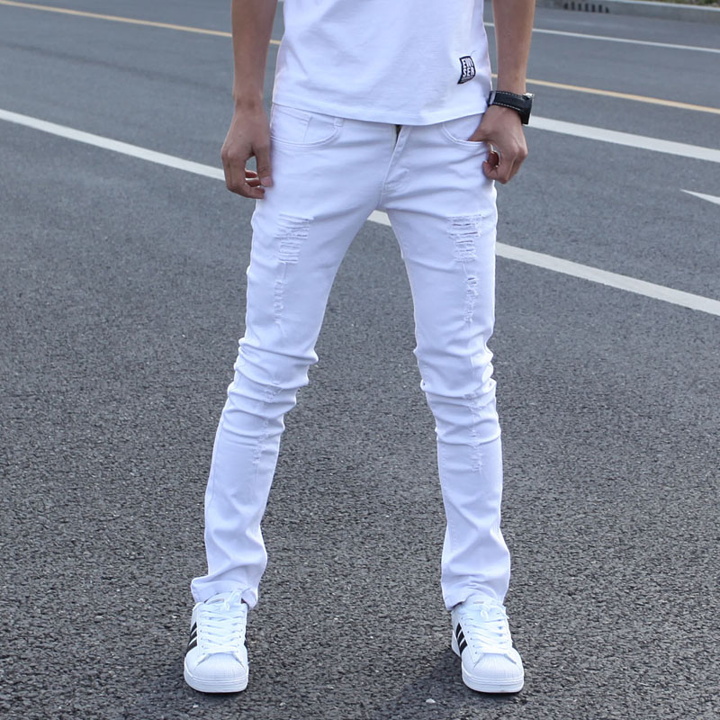 Hot Sell White Ripped Jeans Men With Holes Super Skinny Famous Designer Brand Slim Fit Destroyed Torn Jean Pants For MaleОдежда и ак�е��уары<br><br><br>Aliexpress