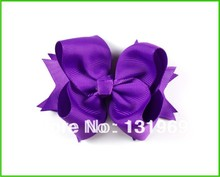 "4"" Toddlers Grosgrain Ribbon boutique Flower clips love design accessories Purple for Hair bows flower 12pcs/lot   a"