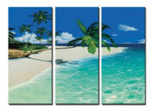 3 piece Hand Painted Fascinating Beach Oil Painting On Canvas Art - Seascape Oil Paintings Wall pictures for Living Rooms