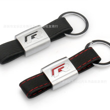 New Alloy PU Leather Keyring keychain Car Logo Black/Red R Line Rline For Volkswagen VW Polo Golf 6 5 7 Jetta POLO Passat B5