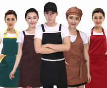 Fashion Hot Sale Unisex Chef Cooking Kitchen Catering Halterneck Apron Bib With Pocket