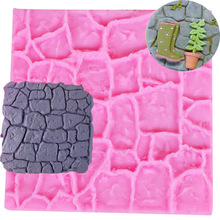 M476 Dry Wall Formas De Silicone Mold Castle Stone Bark Cake Tools Fondant Cake Molds Cupcake Mould Chocolate Kitche 10*10*0.4CM(China)