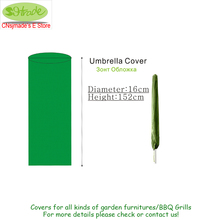 Umbrella Cover D16x152cm,Garden Parasol Umbrella COVER,Water/Dust proofed Furniture Cover,Shade accessories.Green,Free shipping(China)
