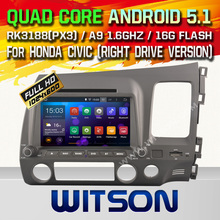 WITSON Android 5.1 CAR DVD RADIO for HONDA CIVIC (right drive version) Capacitive touch screen Cortex A9 Qual-core1.6G 16GB Rom