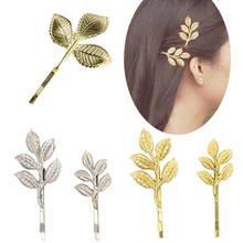 2pcs Free Shipping sweet Cute Flower Leaf Leaves Metal Hair Pins Hair Clips olive branch Jewelry Fashion Hair Accessories