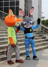 new 2016 Zootopia nick wilde and judy hopps mascot costume Zootopia mascot cartoon film role clothing
