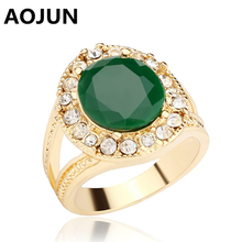 AOJUN Jade Green Resin Ring Ancient Gold Color Hollow Oval Vintage Big Wedding Rings For Women Fashion Jewelry Gift JZ531