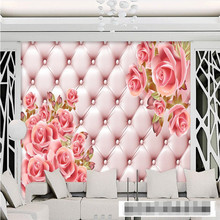 3d wallpaper mural decor Photo backdrop Pink soft bag background flowers Roses living room Restaurant  painting mural panel