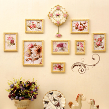 European-style wall clock solid wood photo wall Home decoration combination photo frame wall Rural picture frame and clock