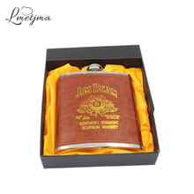 LMETJMA Luxury 18oz Stainless Steel Russian Whiskey Hip Flask Leather Personalized Flask for Alcohol with Box as Gift K0042(China)