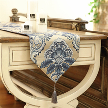 New Chinese Style Blue Gradient Pattern Luxurious Table Runner With Tassel High-Quality Elegant Decorative Table Flag For Home(China)
