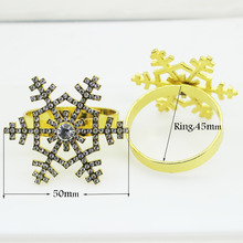 2 PCS Christmas Snow Crystal Napkin Ring for Table Kitchen Serviette Holder Wedding Banquet Dinner.(China)
