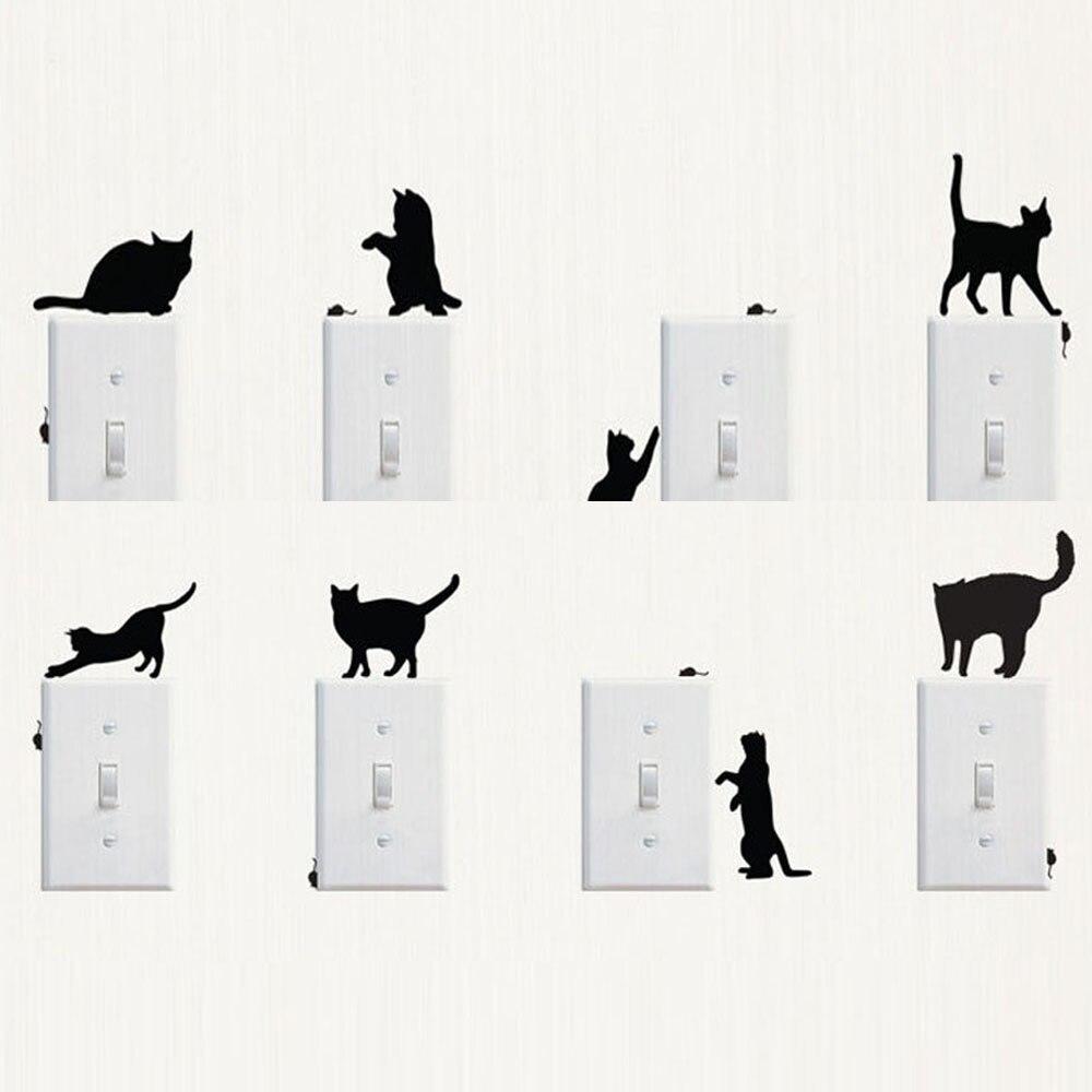 Kreatif Anjing Mengejar Kucing Lebih Tinggi Cahaya Switch Stiker Lampu Gantung Jendela Kamar Dekorasi Dinding Kartun