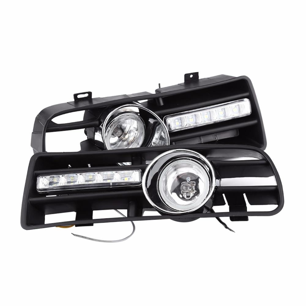 2Pcs H3 Fog Lights Grilles With LED DRL Lamp for 1997-2006 VW Golf GTi / TDI MK4<br>