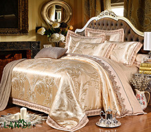 2017 Hot Sell Champagne Jacquard Satin 4pcs Bedding Sets Embroidery Lace Edge 100%cotton Duvet Cover Bed Sheet Pillowcases BC06