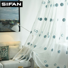 Blue/Pink Flowers Embroidered Voile Curtains for Bedroom Living Room Window Sheer Tulle Curtains Fabric Drapes(China)