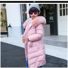 2017 Girl's duck down Outerwear&Coats for winter real fur long model warm Girl Down jackets coats Warm baby girl down jacket(China)