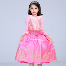 Buy Princess Costume Girls Dresses Party Dress Kids Aurora Princess Long Sleeve Girl Pink Children Dresses Party Cosplay Costume for $16.24 in AliExpress store