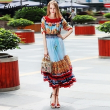 FlyingTown Designer dress runway 2017 high quality women slash neck floral print ruffle dress ladies girl summer Lolita clothes(China)
