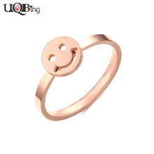 Wholesale 2016 Bijoux New Fashion Stainless Steel Rose Gold-color Hollow Smile Rings anillos For Women/Lady Birthday Gifts(China)