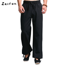 ZAITUN Brand Men Black Loose Linen Pants Casual Cotton Linen Pants Men Summer Breathable Straight Linen Trousers Bottoms