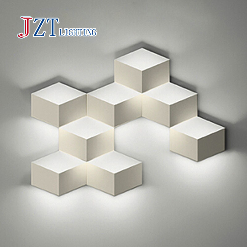 Z Flod Magic Creative LED Wall Light Aluminum Stereo Rhombus Ice Cube 3D The Box Wall Lamp Geometry Square Grid indoor lighting<br>