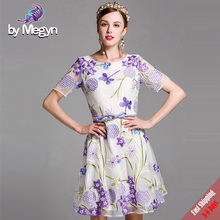 Runway Designer Dresses Summer Brand Women's Purple Flower High Quality Embroidery A Line Dress with Sashes Fast Express Free