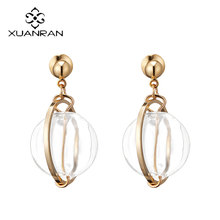 XUANRAN Bubble Transparent Glass Ball Drop Rock Style Fashion Earrings For Women Jewelry Girl Gift Dangle Earring Jewelry 2017(China)