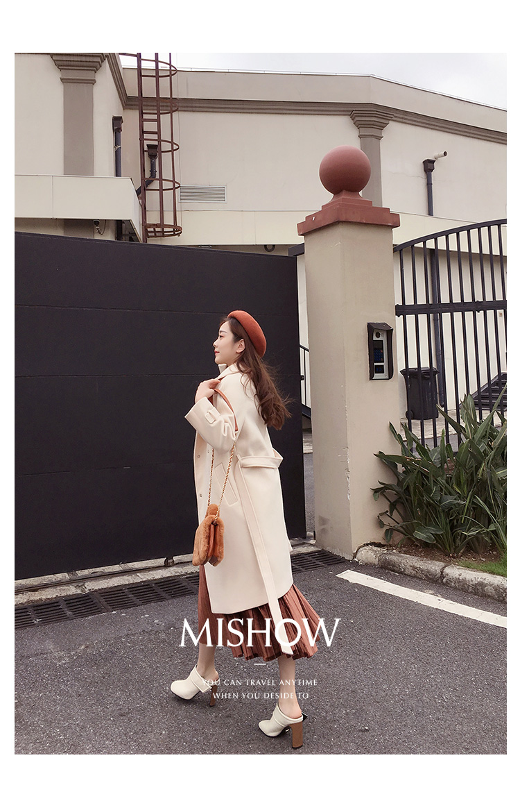 Mishow 19 autumn and winter woolen coat female Mid-Long New Korean temperament women's popular woolen coat MX17D9636 15