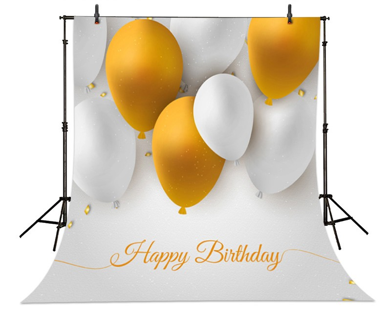 Yellow White Balloon Happy Birthday Backgrounds High-grade Vinyl cloth Computer printed children backdrops<br><br>Aliexpress