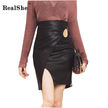 Buy RealShe Metal Buckle Faux Leather Skirts Womens High Waist Sexy Bodycon Split Package Hip Skirt 2017 Ladies Autumn Mini Skirt for $21.64 in AliExpress store