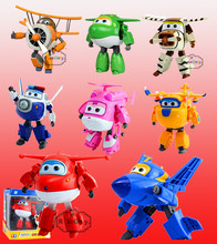 Big Size 15cm 2016 NEW ARRIVAL Super Wings ABS Planes Transformation robot Airplane Robots Brinquedos JETT Action Figure Toys/50(China)