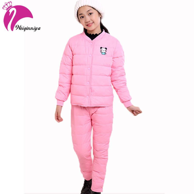 Children Clothing Sets Winter Down Parkas Pink Red Long Sleeve Cute Suit Cotton Tracksuit For Girls Sports Suit Boys Clothes Hot<br>