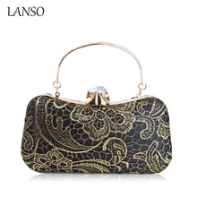 Lace Hollow Out Evening Clutch Bag High-Grade Silk Diamond Party Exquisite Day Clutches Crystal Flower Circular Ring Handbags