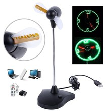 Adjustable USB Mini Flexible Time Clock Fan Table Light Creative Desk Lamp Cool Gadget Gift
