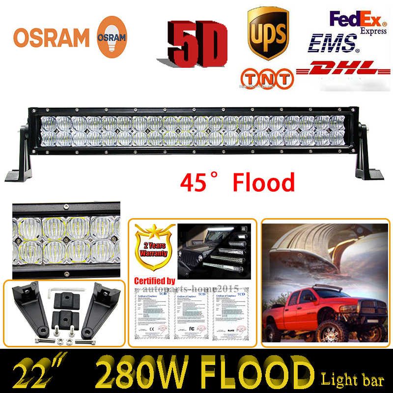 22Inch 280W 5D ForOsram LED Work Light Bar Truck SUV ATV 4WD Pick-up Headlights Off-road Driving Lamp Straight External Lights<br><br>Aliexpress