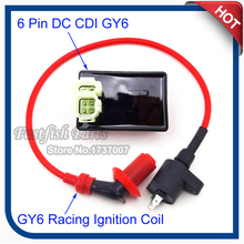 Racing Ignition Coil & DC CDI Box 6 Pin For Kymco SYM Vento Scooter GY6 50cc 125cc 150cc Engine Moped(China)