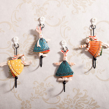 Vintage Rural Style 4pcs/set Resin Rabbits Cloth Hook Coat Hook Wall Hanger Iron Hook Hand-painted Resin Hook