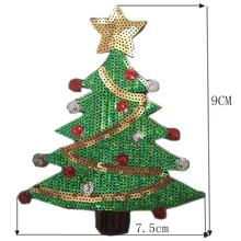 Christmas Tree DIY Sewing Patches Exquisite Polyester Sequins Patches For New Year Christmas Tree Sequins Patches LQA7909(China)