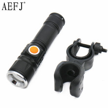 6000LM USB Handy T6 LED Torch usb Flash Light Pocket LED Rechargeable Flashlight Zoomable Lamp For Hunting +Bicycle clamp