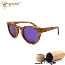 2017 Zebra WOOD Sunglasses Bamboo Sunglasses Brand Designer Original Polarized round sunglass retro gafas W1225(China)