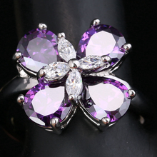 Sparkly 4 Petal Plum Blossom Purple Cubic Zirconia White Gems 925 Sterling Silver Women's Jewelry Rings US# Size 6 7 8 9 S1652(China)