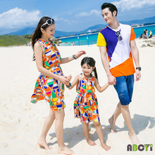 Family Set Lovers / Family Patchwork Clothes Waisted Summer Sundress for mother and daughter T-shirt Clothes for father and son