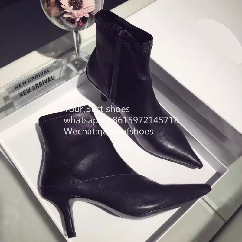 2016 fall black pointed toe boots genuine leather boots 7cm stiletto heel point ankle boots soft leather ladies slim booties<br><br>Aliexpress